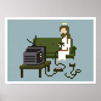 Gamer-Jesus-Pixel-Kunst-Plakat