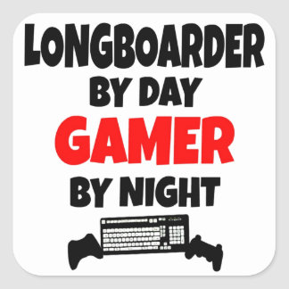 Gamer Longboarder Quadrat-Aufkleber