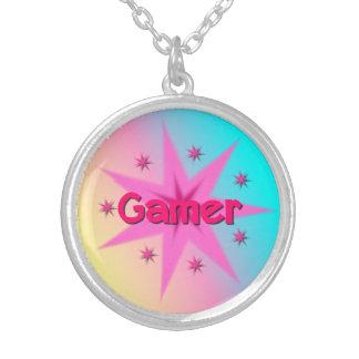 Gamer-Mädchen-Halskette Versilberte Kette