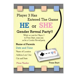 Gamer-Spieler das 3 Babyparty-Geschlecht decken Karte