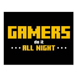 Gamers tun es die ganze Nacht Postkarten
