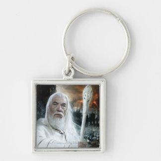 Gandalf mit Personal Silberfarbener Quadratischer Schlüsselanhänger