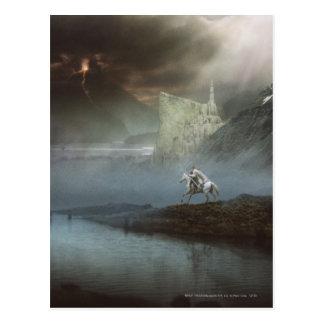 Gandalf nimmt Hobbits zu vorsichtiger Stadt Postkarte