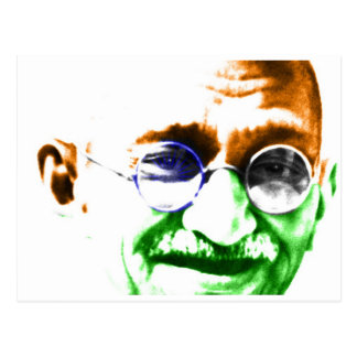 Gandhi auf subtiler indischer Flagge Postkarte