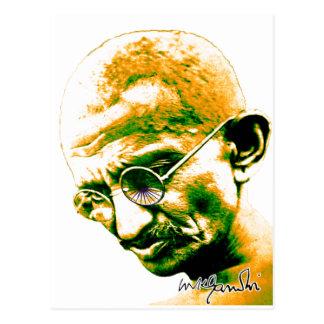 Gandhi in der Orange, im Grün und im Weiß Postkarte