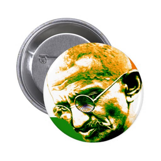 Gandhi in orange Grünem und im Weiß mit Flagge Buttons