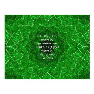 Gandhi inspirierend Zitat über das Lernen Postkarte