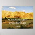 Gandhi Klugheits-Sprichwort-Zitat über Schicksal Poster