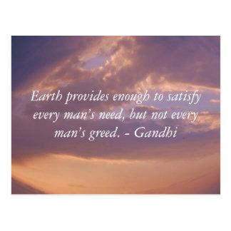 Gandhi Klugheits-Zitat mit Brown-Himmel Postkarte
