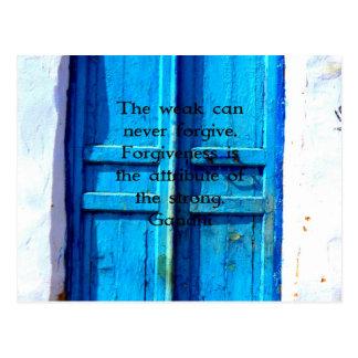 Gandhi Klugheits-Zitat mit Vintager blauer Postkarte