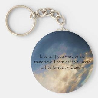 Gandhi Klugheits-Zitat mit Wolken des blauen Schlüsselanhänger
