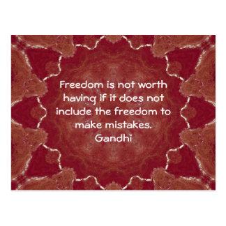 Gandhi Klugheits-Zitat-Sprichwort über Freiheit Postkarte