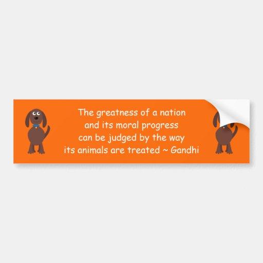 Gandhi Tierrecht-Zitat-Cartoon-Hundeorange Auto Sticker
