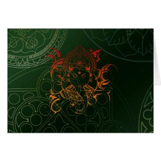 Ganesh Elefant-Mandala-orange grünes Yoga Asien Grußkarte
