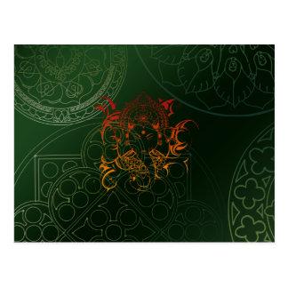Ganesh Elefant-Mandala-orange grünes Yoga Asien Postkarte