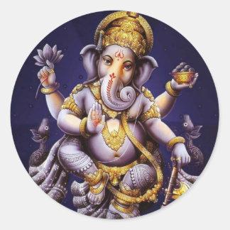 Ganesh Ganesha asiatischer Elefant-Gottheit Runder Aufkleber