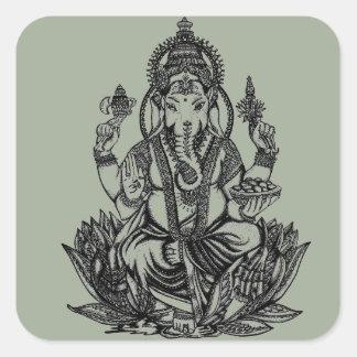Ganesh Illustration Quadratischer Aufkleber