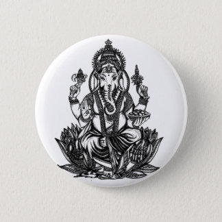 Ganesh Illustration Runder Button 5,1 Cm