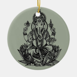 Ganesh Illustration Rundes Keramik Ornament