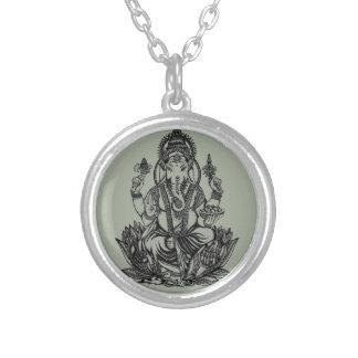 Ganesh Illustration Versilberte Kette