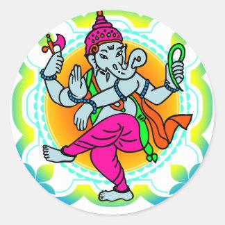 Ganesh im bunten Entwurf des Regenbogens Runder Sticker