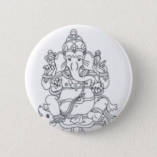 Ganesh Knopf-Abzeichen Runder Button 5,7 Cm