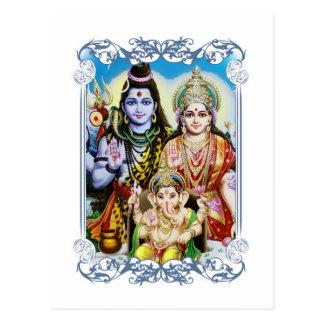 Ganesh, Shiva und Parvati, Lord Ganesha, Durga Postkarte