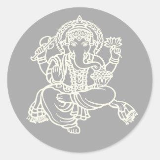 Ganesh Weiß auf Grau Runder Aufkleber
