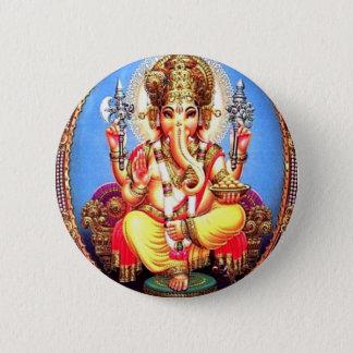 Ganesha (गणेश) indischer Elefant Runder Button 5,1 Cm