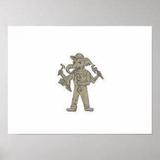 Ganesha Elefant-Heimwerker-Werkzeug-Zeichnen Poster