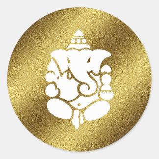 Ganesha goldener Glitter Runder Aufkleber