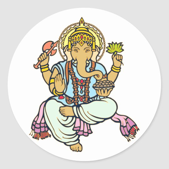 Ganesha Runder Aufkleber