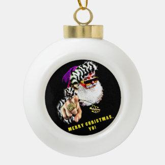 Gangsta Klaus Weihnachtsbaum-Verzierung Keramik Kugel-Ornament