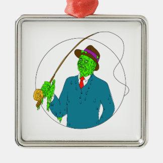 Gangster-Fischer-Fliegenrute-Spulen-Schmutz-Kunst Silbernes Ornament