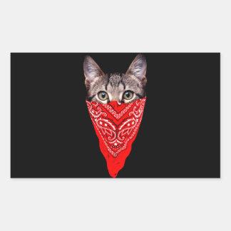 Gangsterkatze - Bandanakatze - Katzengruppe Rechteckiger Aufkleber
