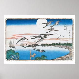Gänse im Flug - Vintages Hiroshige Poster