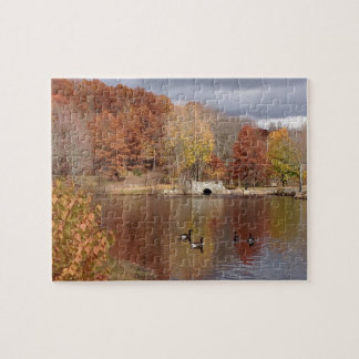 Gänse in reflektierten Herbstfarben - Puzzle