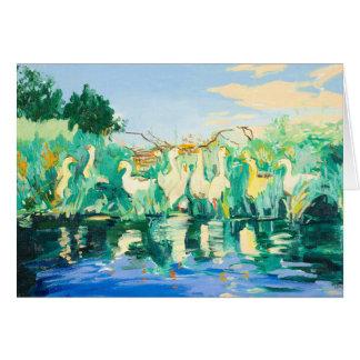 Gänse und Enten durch den Fluss kundengerecht Karte