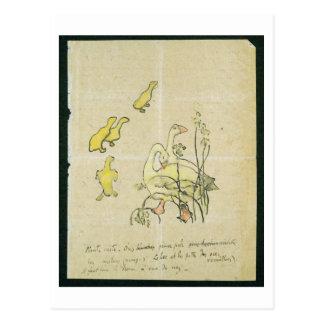 Gänse und Gänschen (w/c u. Tinte auf Papier) Postkarte