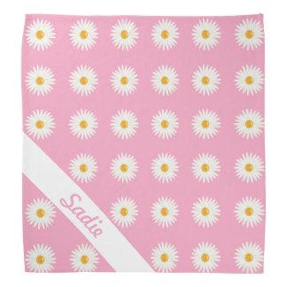 Gänseblümchen-Blumen auf Rosa mit personalisiertem Kopftuch