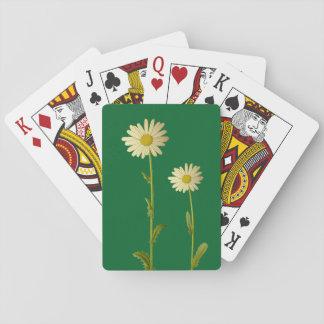 Gänseblümchen-Blumen - grüner Hintergrund Spielkarten