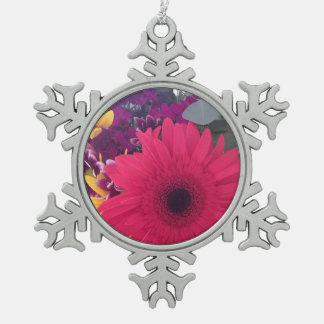 Gänseblümchen-Blumen Schneeflocken Zinn-Ornament