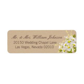 Gänseblümchen-Blumenstrauß-Hochzeits-Aufkleber Rücksendeetikett