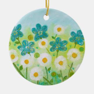Gänseblümchen-Blumenverzierung durch Keramik Ornament