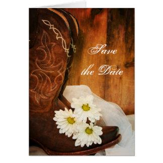 Gänseblümchen-Cowboystiefel-Western, der Save the Karte