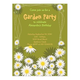 Gänseblümchen-Garten-Geburtstags-Party Einladung Postkarte
