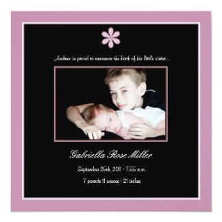 Gänseblümchen-Geburts-Mitteilung - Rosa Quadratische 13,3 Cm Einladungskarte