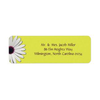 Gänseblümchen-gelber Rücksendeadressen-Aufkleber Rücksendeetikett