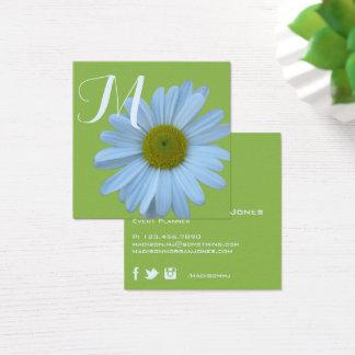 Gänseblümchen-Grün-Blumenmonogramm-Event-Planer Quadratische Visitenkarte