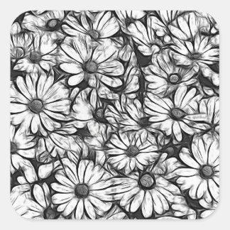 Gänseblümchen im Garten Quadratischer Aufkleber